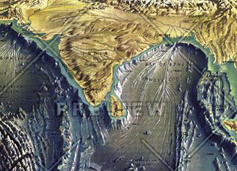 Ocean Floor Elevation Map : Indian ocean floor published by national geographic